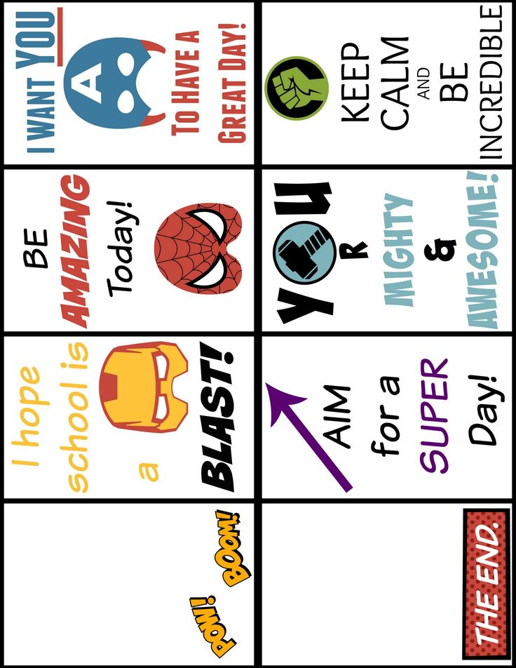 Printable Super Hero Lunch Box Notes