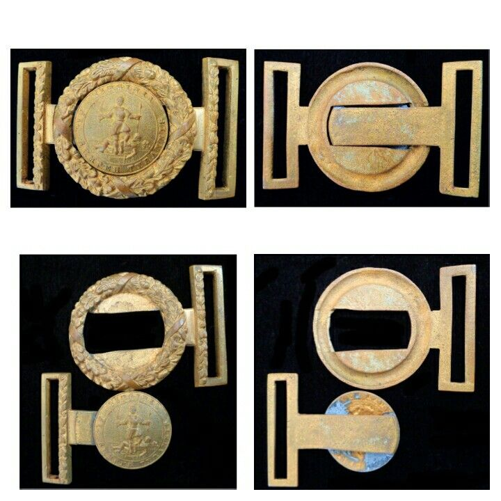 """Virginia Two Piece Sword Belt Buckle The seal of Virginia was first adopted at the beginning of the War Between the States in 1861. The design had been used unofficially for decades, but Virginia wanted to make it clear she was only fighting in defense of her liberty, not to overthrow the government. The two piece sword belt buckle shown here bears the Virginia state seal with the motto """"Sic Semper Tyrannis,"""" which translates to, Thus ever to Tyrants. The seal depicts Virtue standing on the…"""
