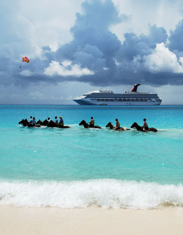 Tourists riding horses in the sea on Half Moon Cay, The Bahamas  The Isles and Cays of Pleasure – The Best Private Islands in the Bahamas