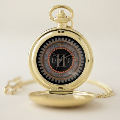 Steampunk Monogrammed Personalized Pocket Watch - monogram gifts unique design style monogrammed diy cyo customize