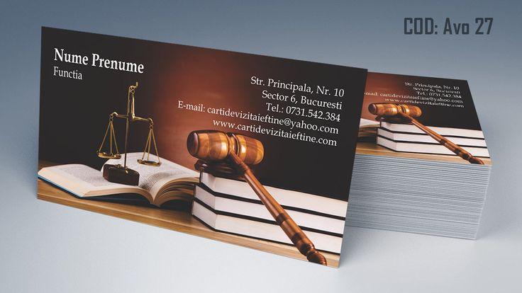 Carti de vizita avocat cod AVO 27 - modele online gratis, printate color fata sau fata-verso. Tiparim carti de vizita atat pentru cabinet de avocat cat si pentru cabinet notarial, juristi sau avocati stagiari. Lawyer, law, attorney business cards templates