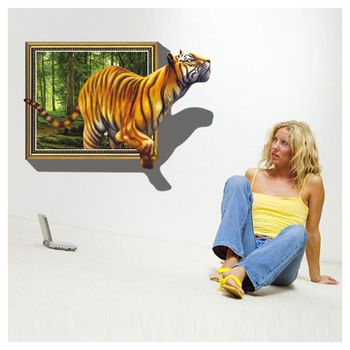 Free shipping 1Pcs Hot Sale New Design Vinyl Simulation Tiger 3D effect wall sticker for Home Room DIY Wall Sticker
