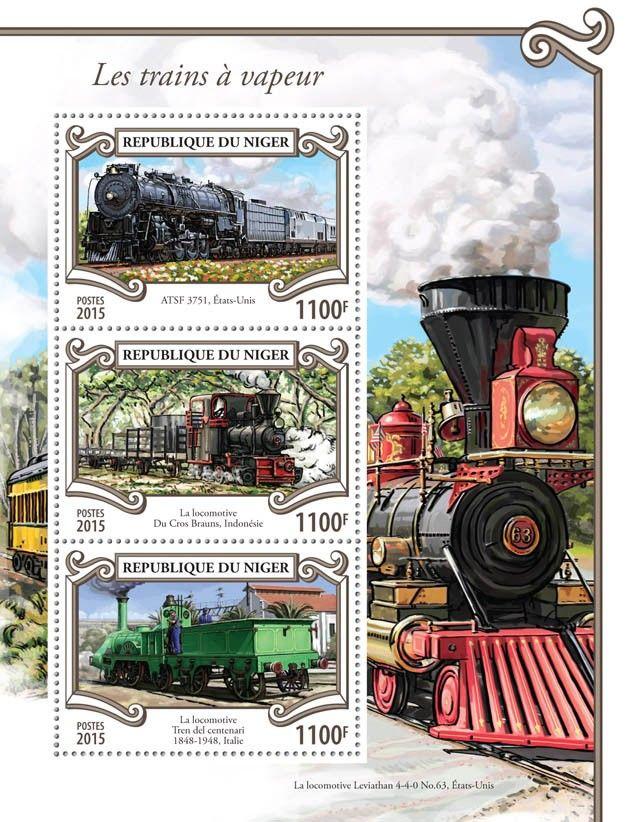 Post stamp Niger NIG 15308 aSteam trains (ATSF 3751, United States, {…}, Locomotive Tren del Centenari, 1848–1948, Italy)
