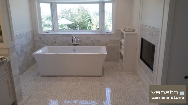 "Carrara Venato 4x12"" and 1x3"" Herringbone ($11.45SF) Polished Marble Bathroom Tile: http://www.thebuilderdepot.com/cvp1x3herb.html"