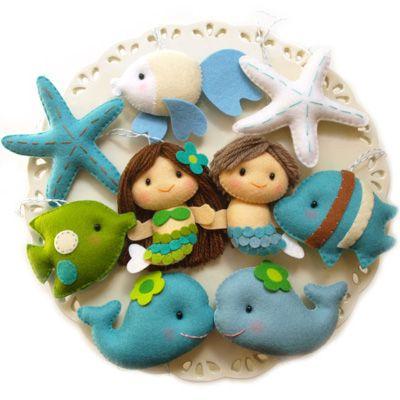 Mermaids and sea friends felt ornaments