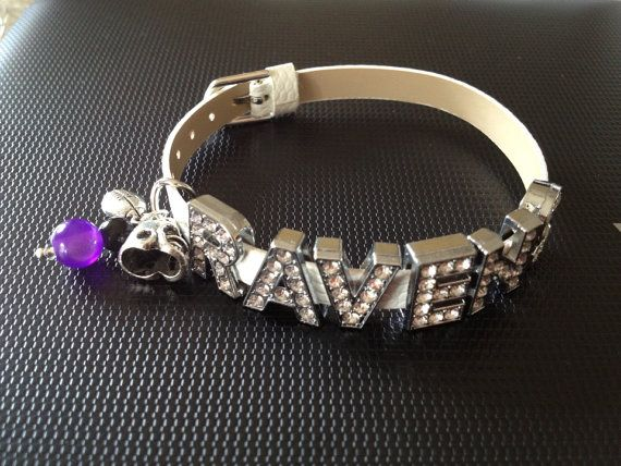 """Baltimore Ravens Football Inspired White Adjustable Bracelet with Beads  Football charms w/ RAVENS Rhinestone Slider Letters 6 1/2""""-8""""  ALSO AVAILABLE IN BLACK"""