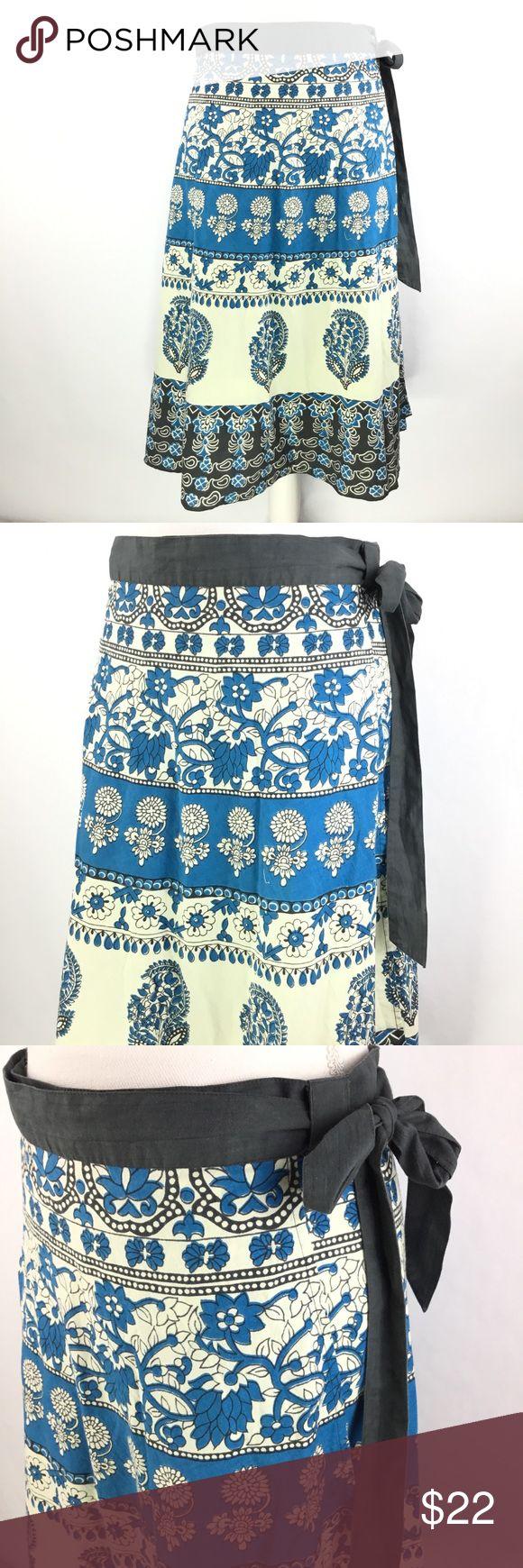 "Lucky Brand Women's Wrap Skirt Sz M Boho Festival LUCKY BRAND Women's Wrap Skirt 100% Cotton  Bohemian blue, beige, gray sarong  Size medium  Very good Condition   Length from waist to hem: 27"" Lucky Brand Skirts"