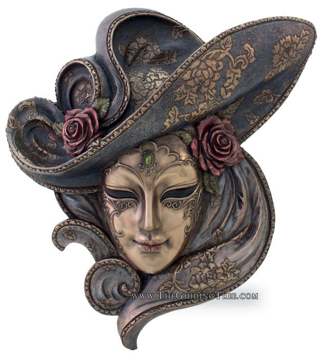 Venetian Mask Wall Plaque - Rose - Cold Cast Bronze [TL322200235] - $69.00 : Unique Gifts for Body Mind and Spirit | Metaphysical, Conscious Living, Personal Growth and Development | Statuary, Tarot, New Age Music, Books, Home and Altar Decor, The Guiding Tree