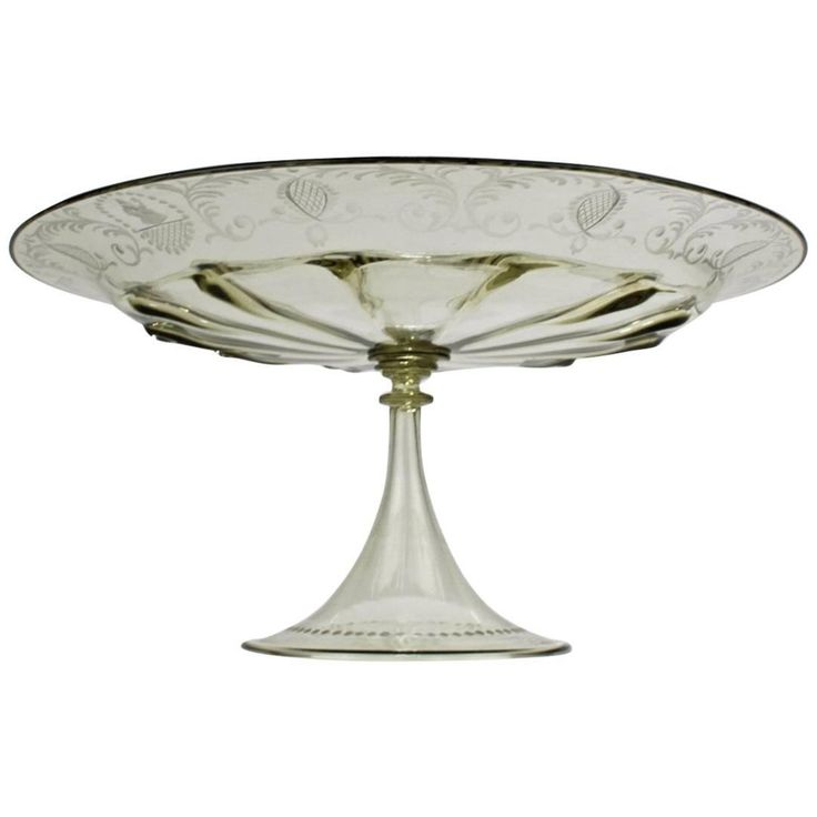 Pauly & Co. Light Amber Etched Venetian Glass Compote or Cake Stand
