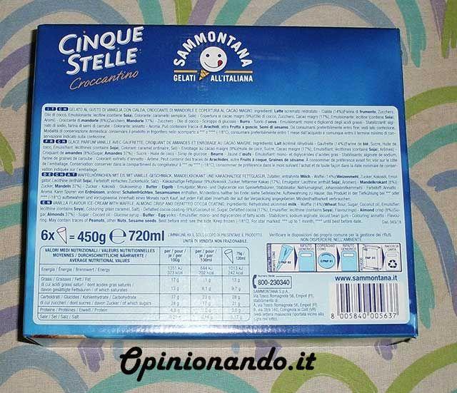 Sammontana Cono Cinque Stelle Croccantino back - #recensione #Opinionando