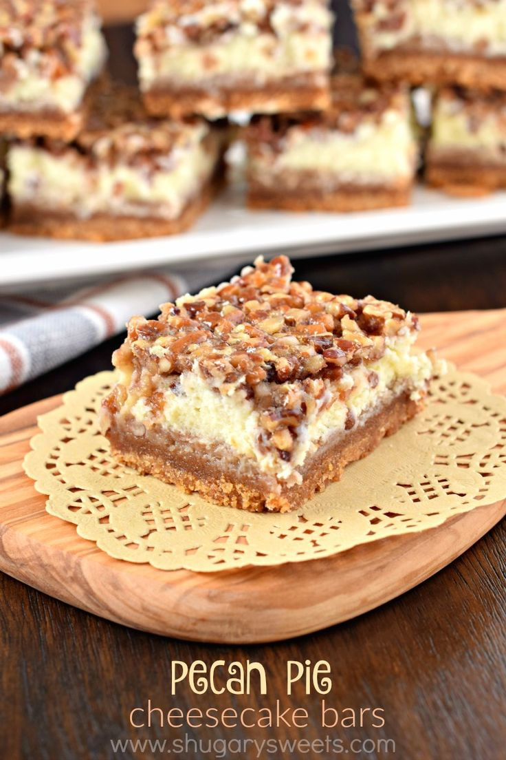 Layers of graham cracker, cheesecake and caramel pecans combine to make the most incredible Pecan Pie Cheesecake Bars. Perfect recipe for holidays!