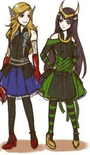 Loki and thor genderbend. Me and my best freind. When we RP I am Loki and she is thor.