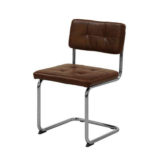 Eetkamerstoel Optica kunstleer vintage bruin. De stoel Optica is een variant op onze eetkamerstoelen Rainbow. Maar dan met het sterke kunstleer in vintage bruin bekleed. Uit voorraad geleverd voor slechts € 74,- door https://www.meubelen-online.nl/eetkamerstoel-optica-bruin-vintage-buisframe