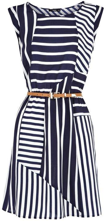 Oasis | Blue Stripe Belted Tunic Dress