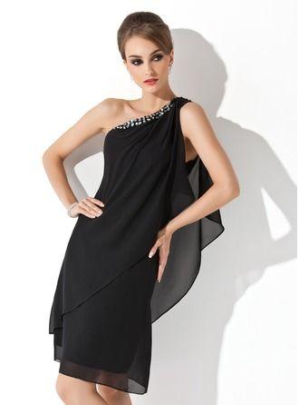 Sheath/Column One-Shoulder Knee-Length Chiffon Cocktail Dress With Beading