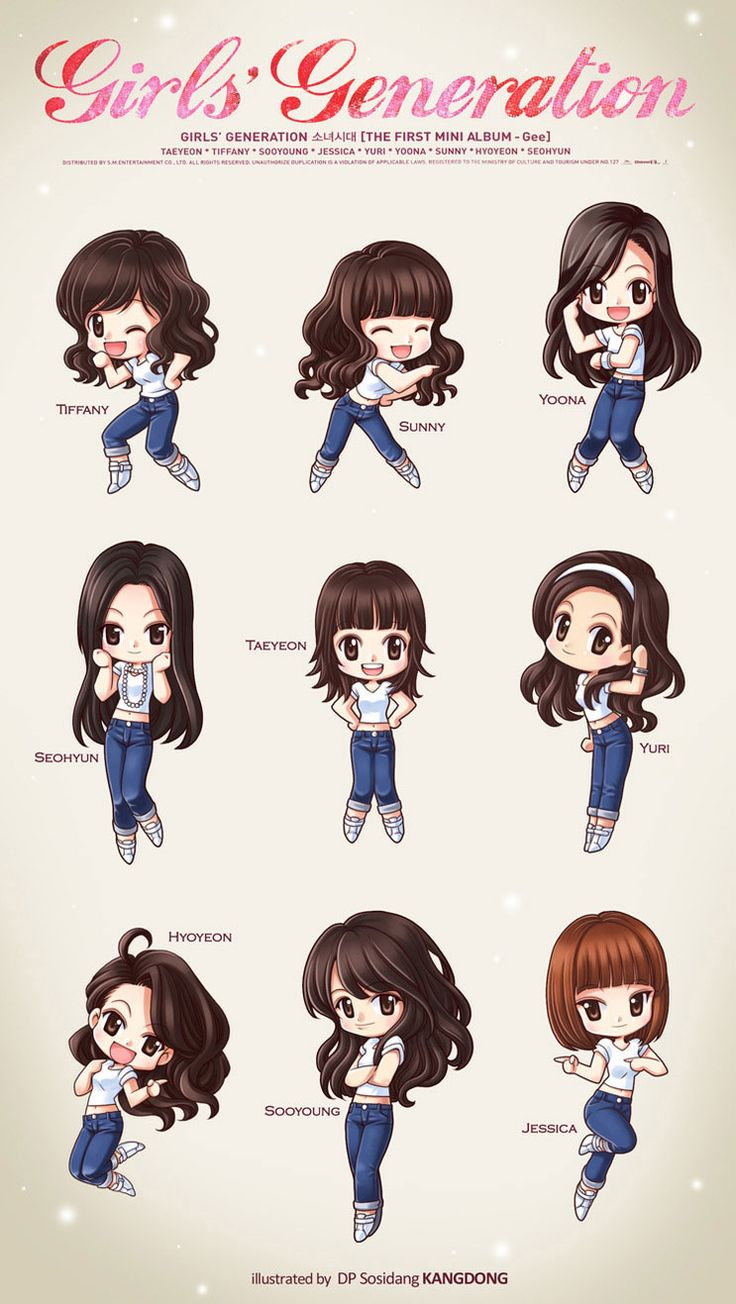 "SNSD Chibi! Pretty sure these are the dance moves from ""Gee"""