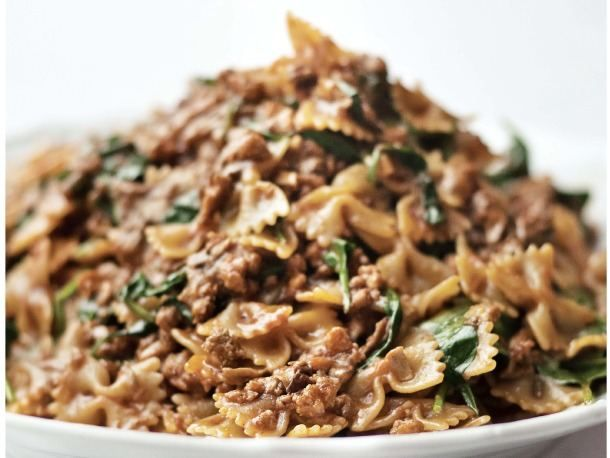 Farfalle Abruzzese with Veal, Porcini, and Spinach from Serious Eats. http://punchfork.com/recipe/Farfalle-Abruzzese-with-Veal-Porcini-and-Spinach-Serious-Eats