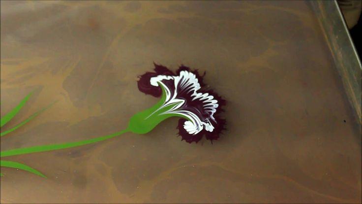Ebru sanatinda Karanfil yapimi ,Floral marbling ebru art with carnation