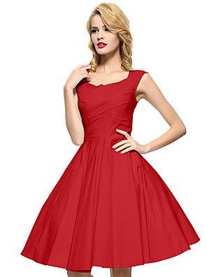 Maggie+Tang+Women's+Black/Red/Blue+50s+Vintage+Swing+Midi+Dress,Plus+Size+–+USD+$+25.99
