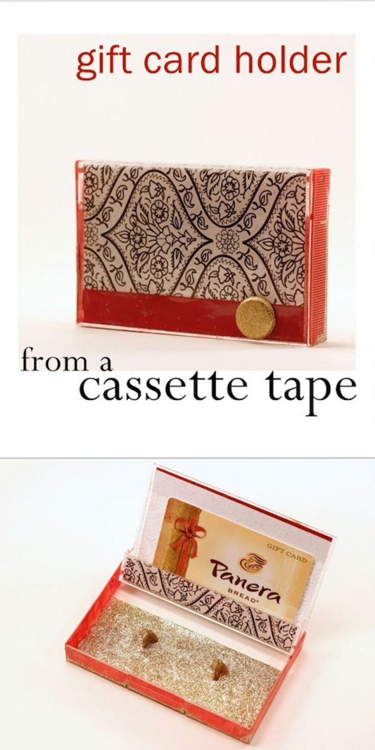 Create a unique gift card holder using an old cassette tape case! Use your favorite formula of Mod Podge and some pretty papers to surprise the recipient.