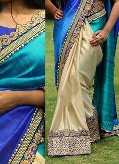 Blue Beige Embroidery Work Cotton Silk Designer Half Sarees http://www.angelnx.com/Sarees/Designer-Sarees