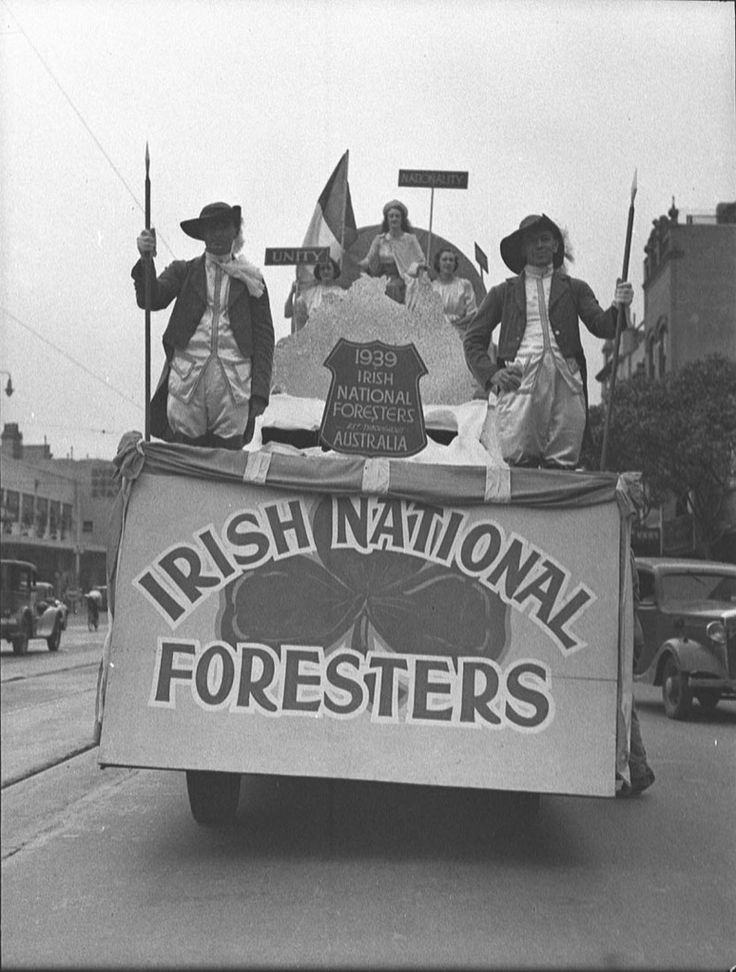 Irish National Foresters float in the St Patrick's Day parade, Sydney, 11 March 1939. Sam Hood Collection, Mitchell Library, State Library of New South Wales: http://www.acmssearch.sl.nsw.gov.au/search/itemDetailPaged.cgi?itemID=24639