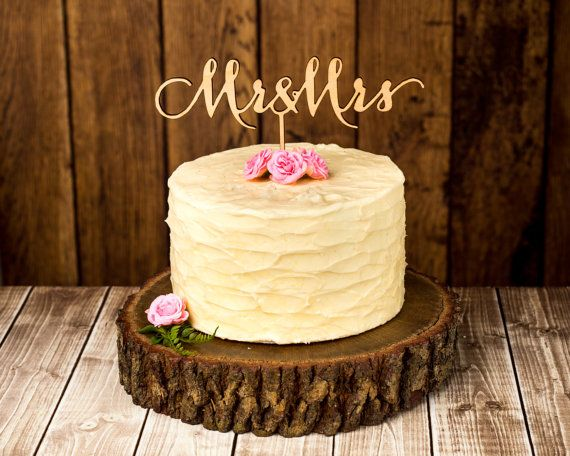 Wedding Cake Topper  Mr and Mrs  Birch by BetterOffWedRustics, $35.00