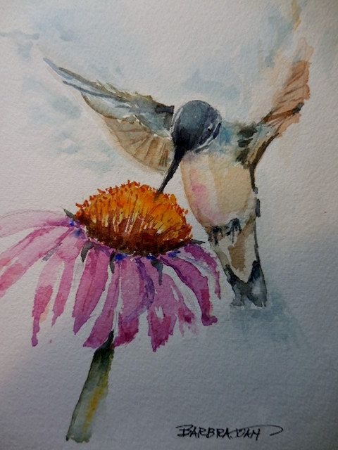 Hummingbird painting hummingbird original by BarbraJoanOriginals