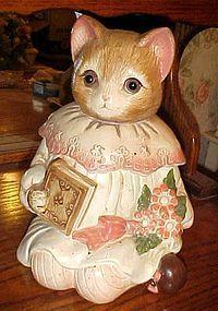 Mervyns Miss Emily kitty cat cookie jar, glass eyes