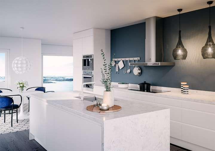 Integra White-kjøkkenløsning med øy, fra 34 195,- fås hos Elkjøp.