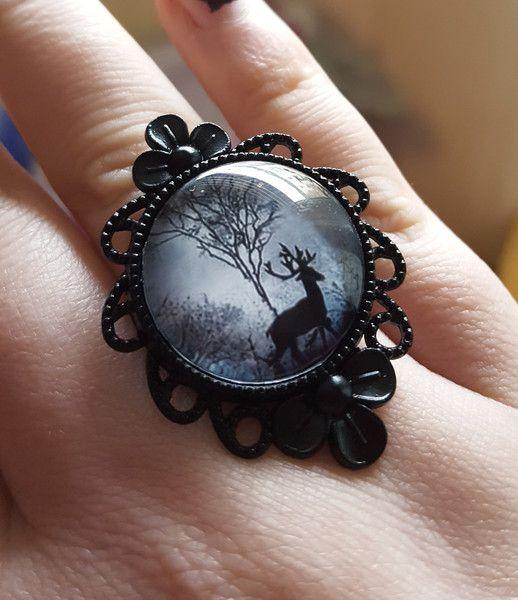 Ringe - Schwarzer Ring Gothik Fantasy Schnörkel Cabochon - ein Designerstück von Fairys-Wonderland bei DaWanda