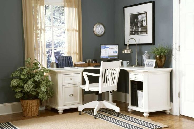 Gorgeous Images Of Cool Spare Room Design And Decoration Ideas: Wonderful Image Of Home Office Cool Spare Room Decoration Using Light Grey Office Wall Paint Including L Shape White Wood Corner Computer Desk And Vintage White Wood Wheel Computer Chairs ~ fendhome.com Bedroom Inspiration