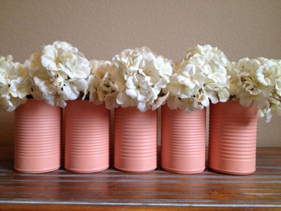 Shabby Chic Peach Pink Wedding Tin Vase Decor on Etsy, $5.00 - or spray pain your own in your wedding colours: