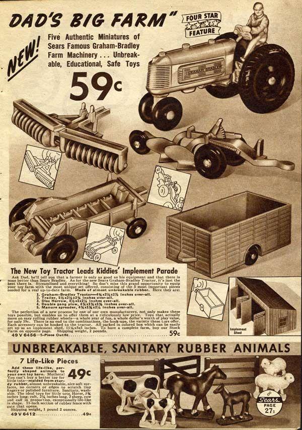 Various Vintage Farm Toys Ad (1937) #vintagetoys #vintage games #1930s…
