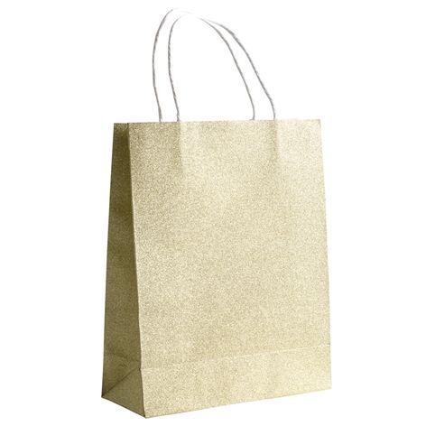 Gavepose GLITTER gull. 19 x 24 x 8cm. Mellomstor gavepose i glitrende papir.