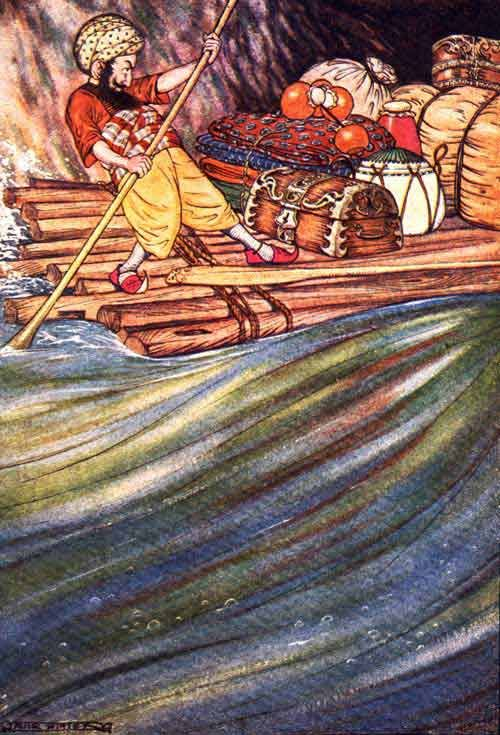 "From the story of Sinbad. ""Having balanced my cargo exactly, and fastened it well to the raft, I went on board with two oars I had made."" Illustrated by Milo Winter"