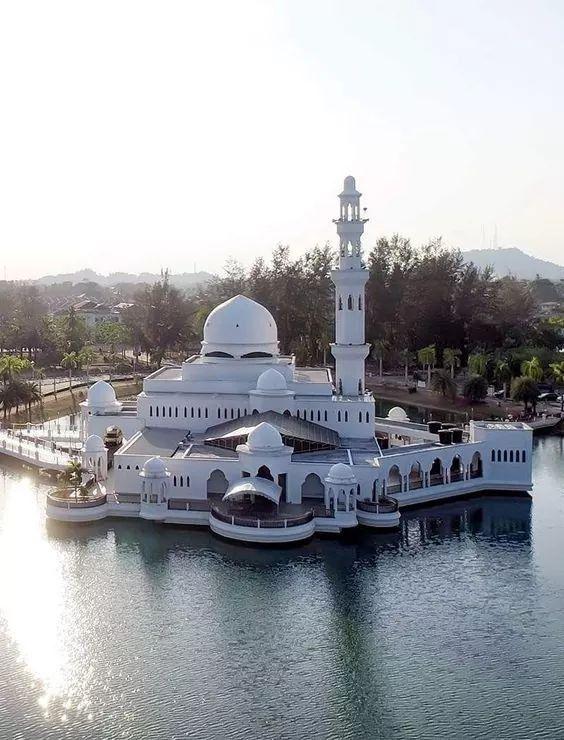 Aerial View of the Floating Masjid in Kuala Terengganu, Malaysia.