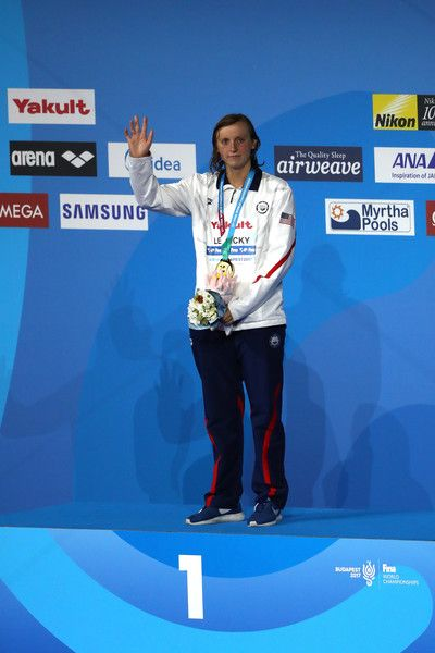 - Gold medalist Katie Ledecky of the United States poses with the medal won during the Women's 1500m Freestyle on day twelve of the Budapest 2017 FINA World Championships on July 25, 2017 in Budapest, Hungary. - Budapest 2017 FINA World Championship - Day 12