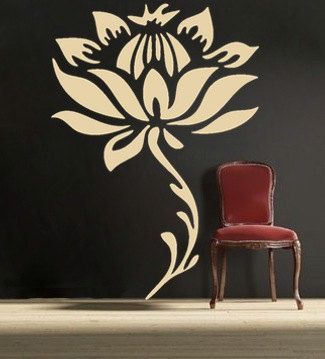LARGE LOTUS Flower and stem, vinyl Wall DECAL Art, sticker art, room, home and business decor- 6 feet tall