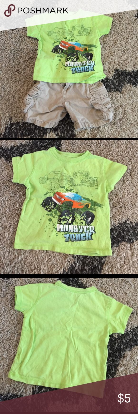 Lime green monster truck shirt Lime green shirt with monster truck. Pictured with khaki shorts, Sold separately. Bundle and save! Shirts & Tops Tees - Short Sleeve