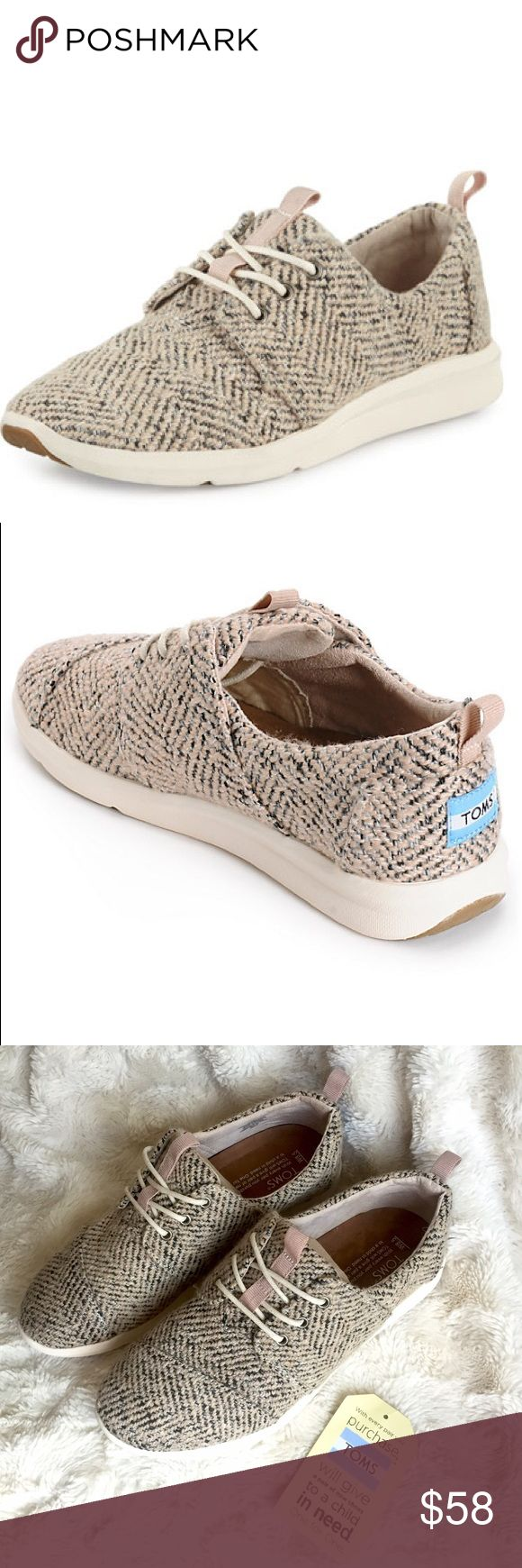 TOMS Del Rey Dusty Rose Boucle Sneaker New, never worn with detached tag. Super cute casual sneakers by TOMS. Highly sought after, sold out everywhere else online. Size 8.5, runs true to size in my opinion. First two photos are stock, last two photos are of the actual shoes. Smoke/pet free home. Ask all questions before buying  NO trades/lowball offers. Bundle for a discount  TOMS Shoes Sneakers