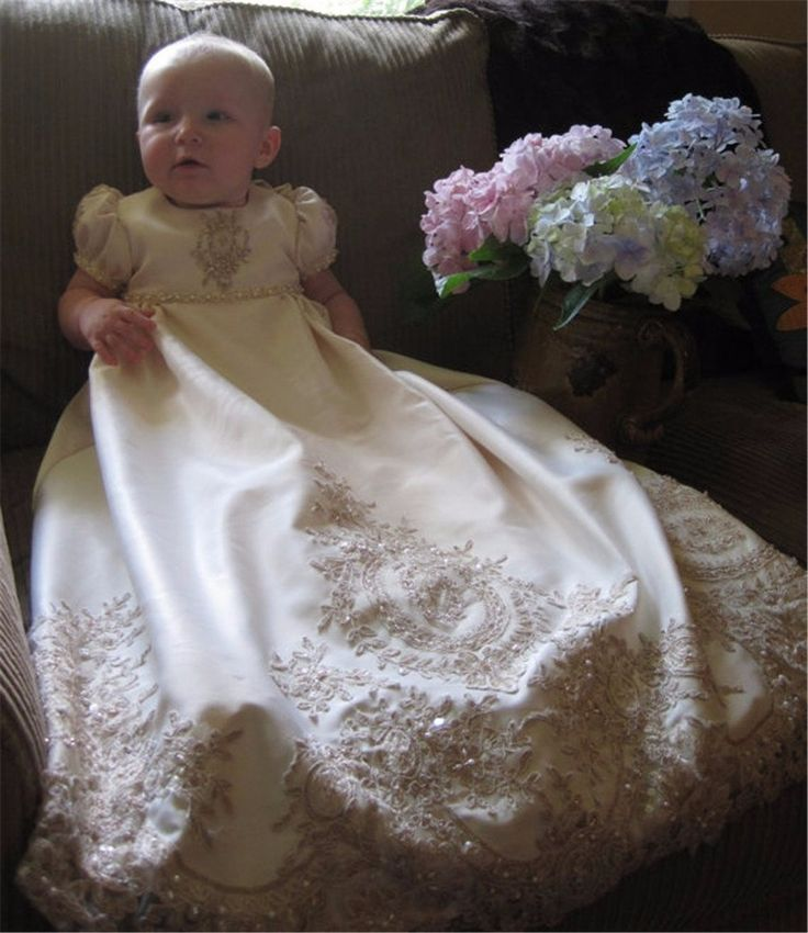Embroidery Beaded Christening Gown Baby Dresses Newborn Outfit White/Ivory Custom Lace Baptism Robe With Bonnet 0-12 Month 2017