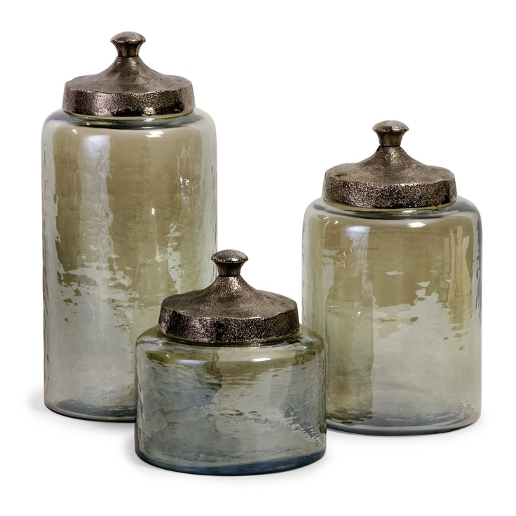Off Round Green Luster Canisters, Set Of Three By IMAX. Round Hammered  Luster Glass Canisters With Hammered Nickel Lids 10 X 6 6 Glass, Aluminum @  Not Food ...