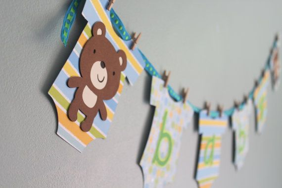 Teddy Bear Baby Shower Banner Boy Teddy Bear Baby por calladoo