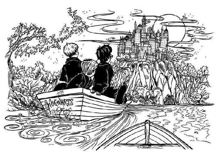 Harry potter books boating to castle