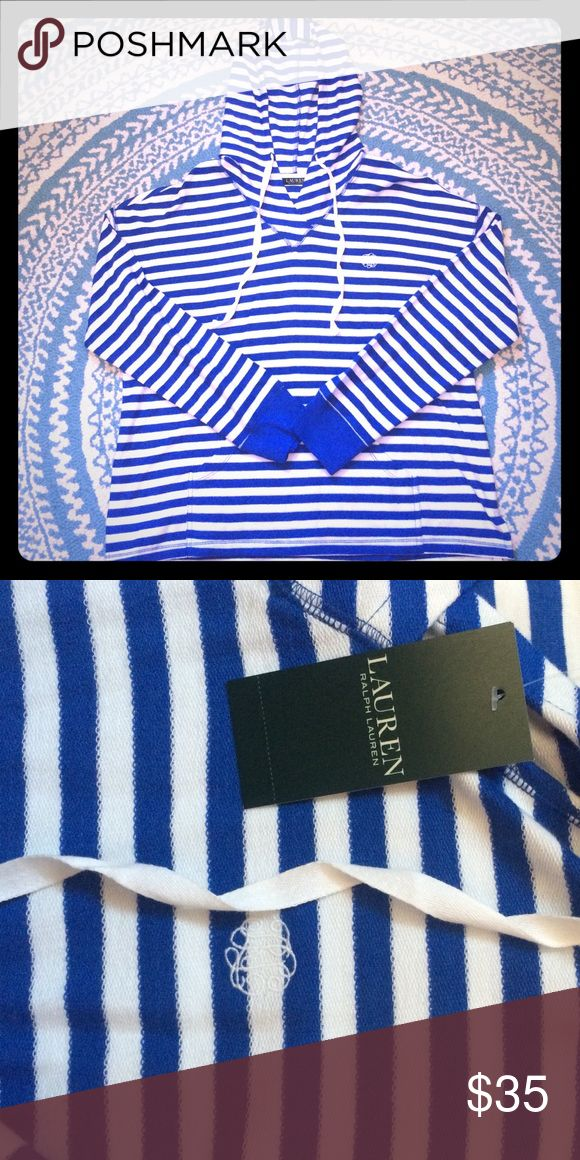 "🆕Ralph Lauren Blue And White Hoodie Beautiful blue and white hooded shirt by Ralph Lauren. Insignia in the upper eighth and corner of the shirt. ""Inside out"" look gives this shirt a beachy feel. Lauren Ralph Lauren Tops Sweatshirts & Hoodies"