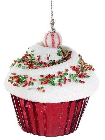 Cupcake Heaven Peppermint Twist Red & Green Glittered Christmas Ornament | Price:	$9.49