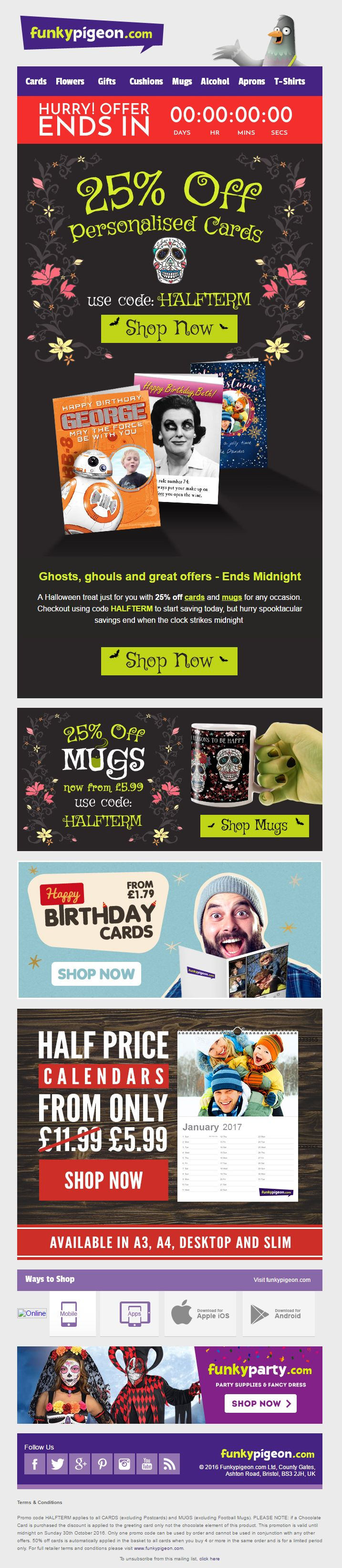 Halloween offer email from funkypigeon com including coupon discount code and countdown timer emailmarketing