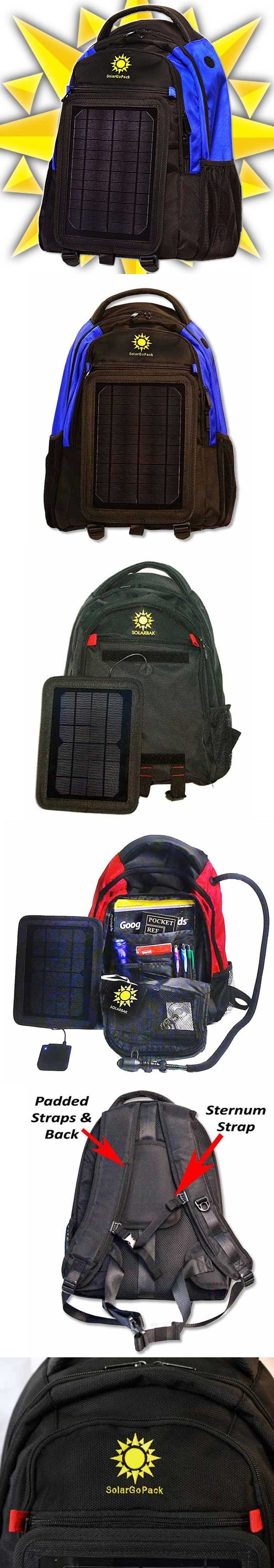 SolarGoPack – Solar Powered Backpack::          SolarGoPack is a durable, stylish backpack equipped with a solar panel used to charge your mobile devices.         The solar panel on the SolarGoPack bag powers a battery that will charge any of your electronic devices.         A powerful 5w, 12000 mAh Lion Bat, lightweight removable panel designed with cutting edge solar panel technology. www.gonnawannagetit.com