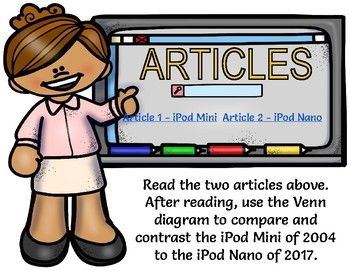 FLASH FREEBIE! Students will compare and contrast old and new types of technology based on online technology articles; students will then compare and contrast the info obtained in a Venn Diagram. Teachers can use the option provided that includes two articles and a student example; the option provided is to compare/contrast an iPod Mini from 2004 to an iPod Nano of 2017.